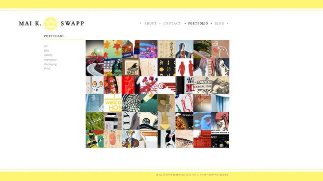 The website features a portfolio section with a collage of the various portfolio images on the front page